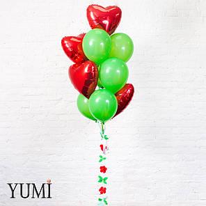 Яркая связка из 10 воздушных шариков + декор: объемная гирлянда цветы и зелень, фото 2