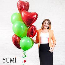 Яркая связка из 10 воздушных шариков + декор: объемная гирлянда цветы и зелень, фото 3