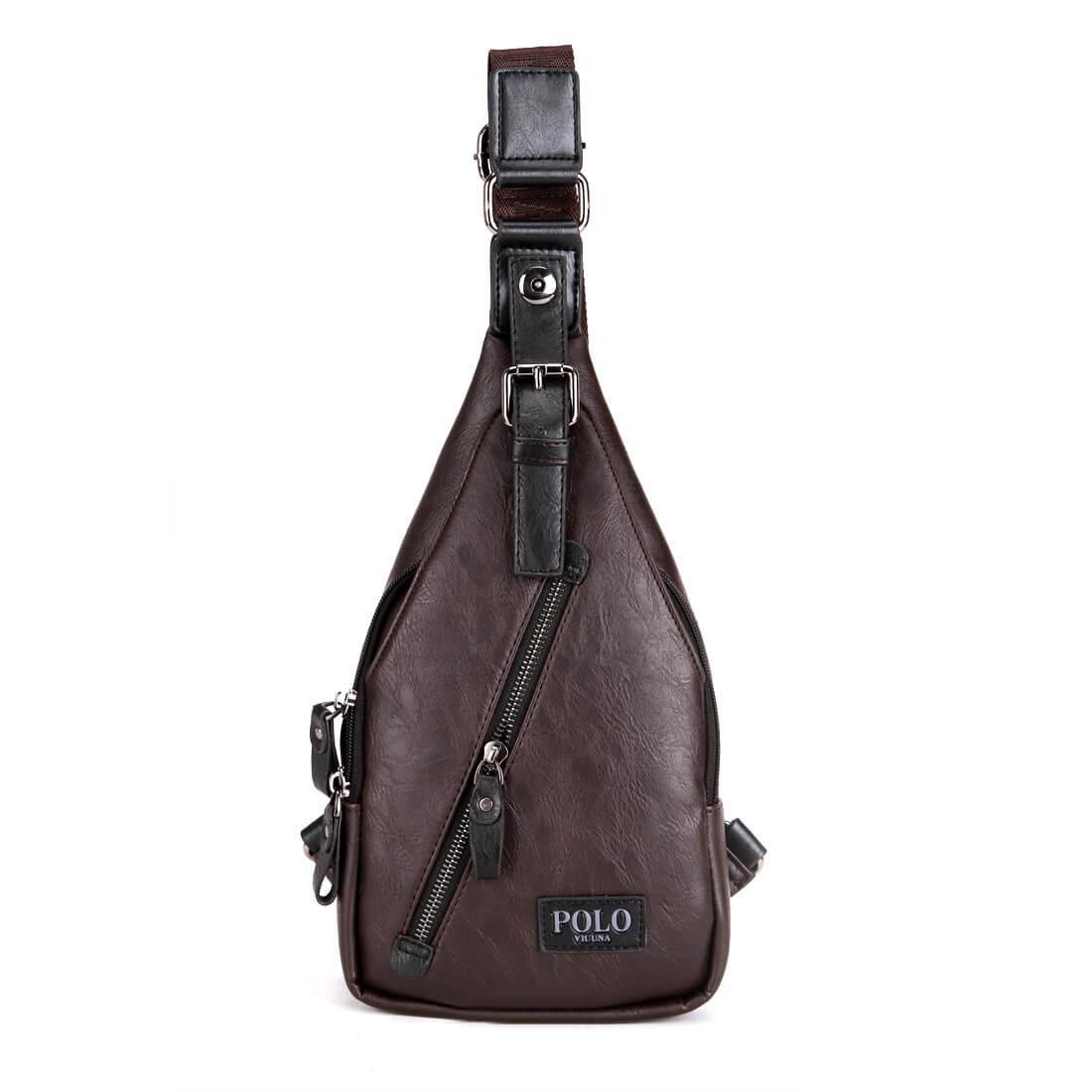 Сумка-мессенджер мужская через плечо Polo Vicuna V9903 коричневая