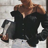 Блуза женская свободная с открытыми плечами черная