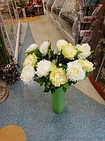 Цветы искусственные для декора дома Пион салатовый 75см