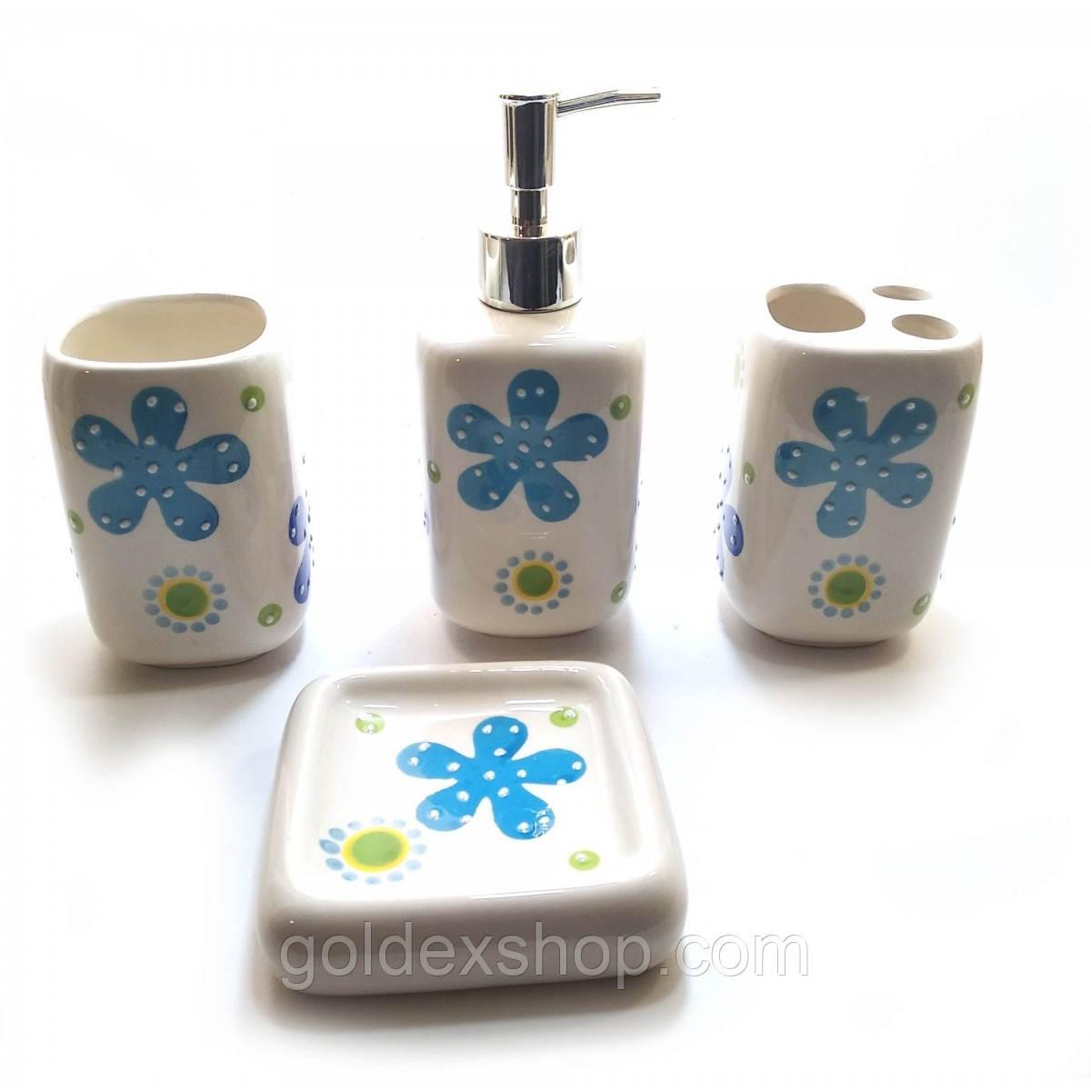 Набір для ванної керамічний блакитний (26х22х8 см)