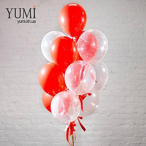 Новогодняя связка из 13 гелиевых шаров с декором, фото 2