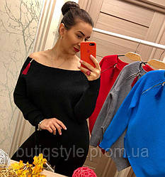 Красивый женский асимметричный свитер машинная вязка вырез лодочка на молнии только  черный