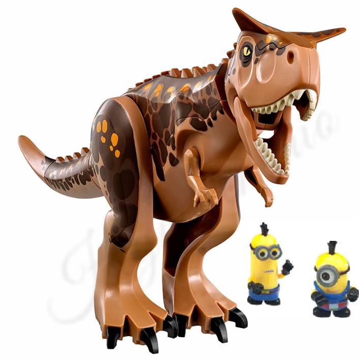 Динозавр Карнотавр + 2 миньона аналог Лего большой  Длина 28 см. Конструктор динозавр