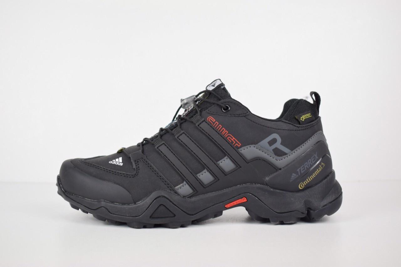 Зимние мужские кроссовки Adidas Terrex SWIFT низкие черные белый значок -  Интернет-магазин