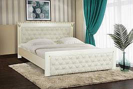 Кровать двуспальная из массива дуба  Ривьера 160х200 Микс мебель, слоновая кость с патиной золото