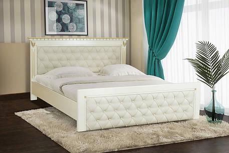 Кровать двуспальная из массива дуба  Ривьера 160х200 Микс мебель, слоновая кость с патиной золото, фото 2