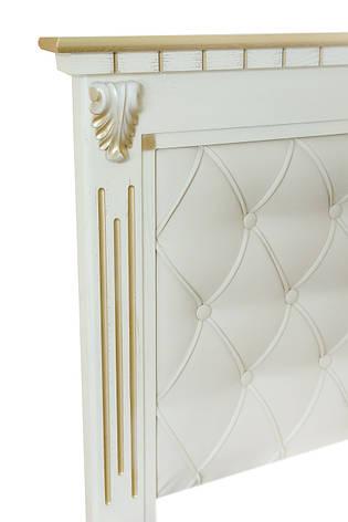 Кровать двуспальная с мягким изголовьем Ривьера 180х200 Микс мебель, слоновая кость с патиной золото, фото 2