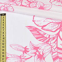 Бязь набив. белая в розовые цветы (хлопок 100%), ш.220 ( 36703.001 )