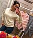 Красивый женский свитер вязка с мехом кролика пудра, молочный, серый, фото 2