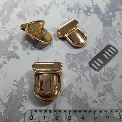 Замок портфельный маленький, цвет золото