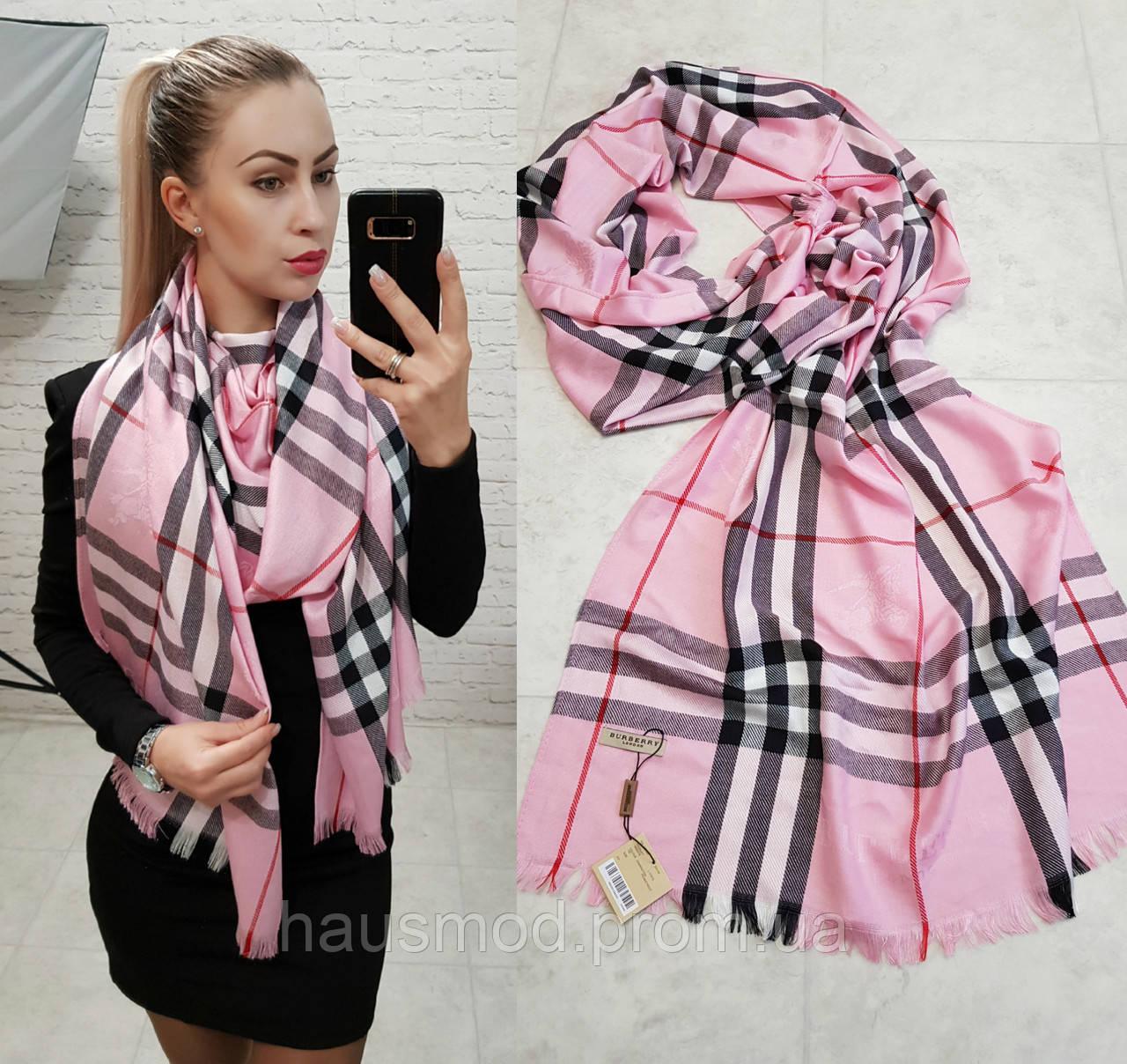 Палантин шарф брендовый реплика Burberry розовый