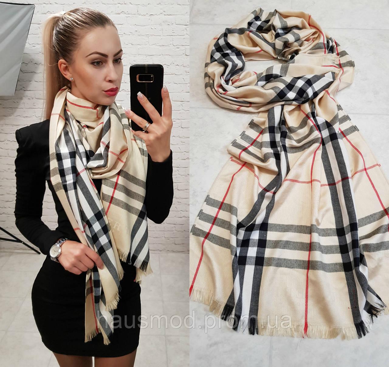 Палантин шарф брендовый реплика Burberry беж