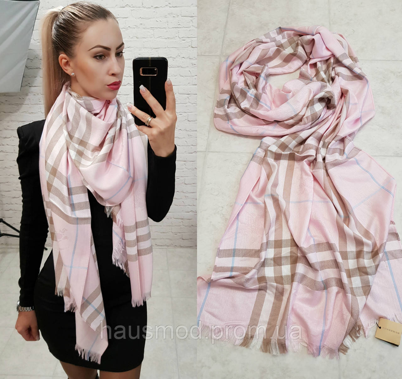 Палантин шарф брендовый реплика Burberry пудра