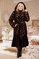 """Роскошная длинная женская шуба из искусственного меха (эко-меха) """"под норку"""", коричневая"""