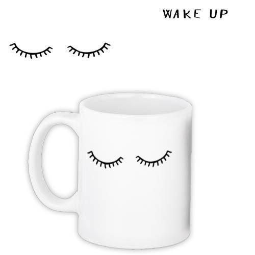 Кружка с принтом Реснички Wake up 330 мл (KR_18J046)