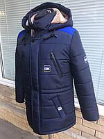 Зимняя удлиненная куртка-парка на мальчика подростка на овчине рост 135-170 темно-синий с электриком