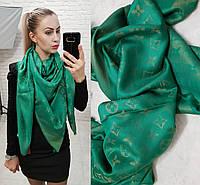 Люрексовый палантин-шаль реплика Louis Vuitton темно-зеленый вышит золотой нитью , фото 1