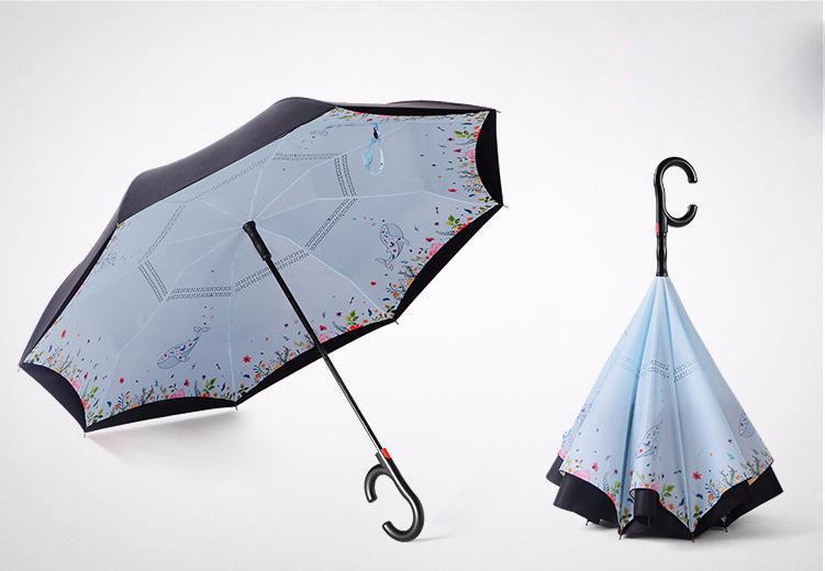 Японский зонт обратного сложения Umbrellas с ветрозащитой и уникальным рисунком