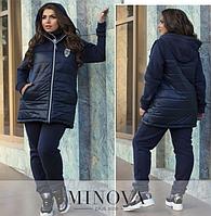 Осенне-зимний спортивный костюм-тройка на флисе состоит из куртки на молнии, прямых брюк и жилетки р. 50-62 )