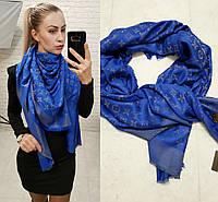 Люрексовый палантин-шаль платок реплика Louis Vuitton синий-электрик вышит золотой нитью