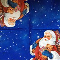 """Салфетка декупажная 33Х33 см 28.1 """"Санта с мишкой"""""""