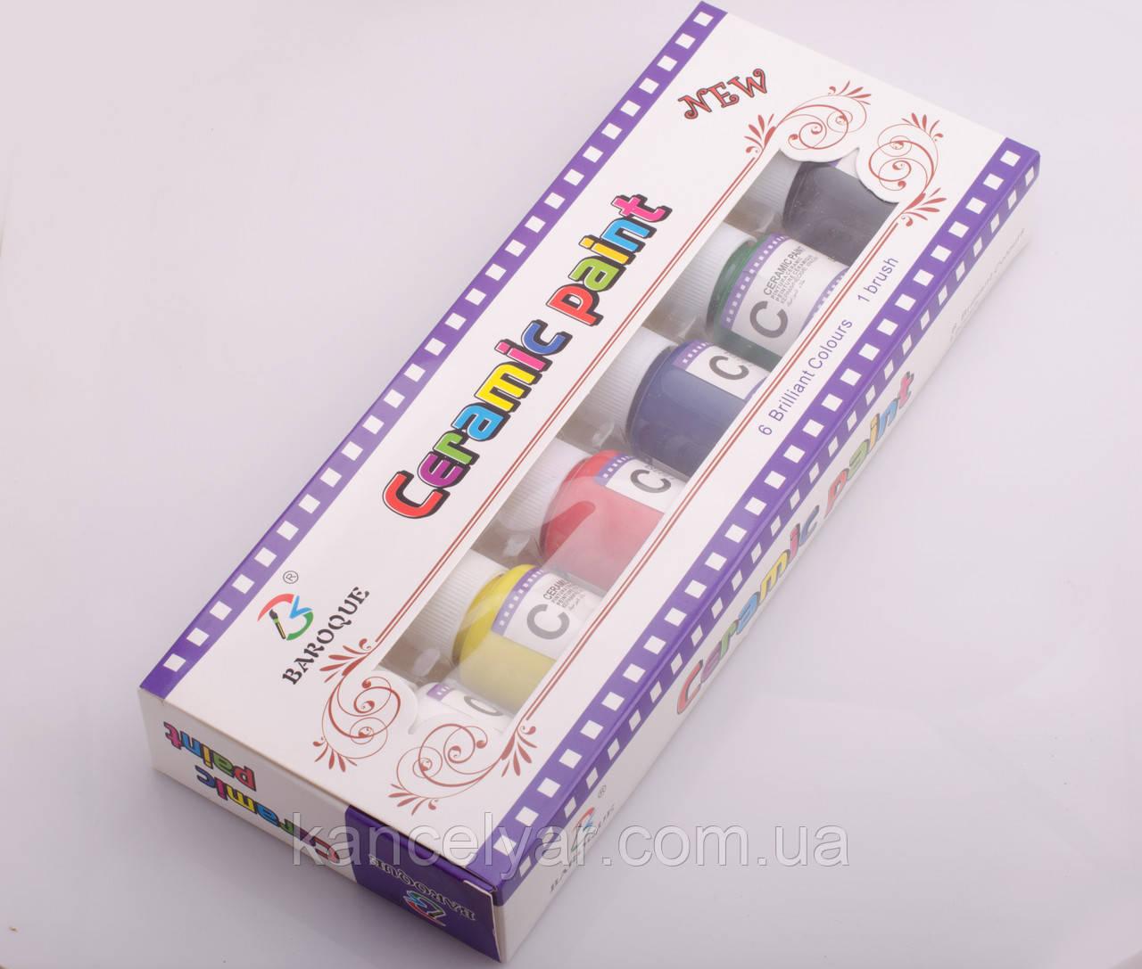Фарби для кераміки: 6 кольорів, 25 мл, пензлик