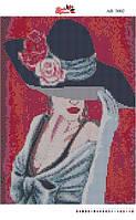 Алмазная вышивка «Девушка в шляпе». АВ-3002 (А3). Полная выкладка