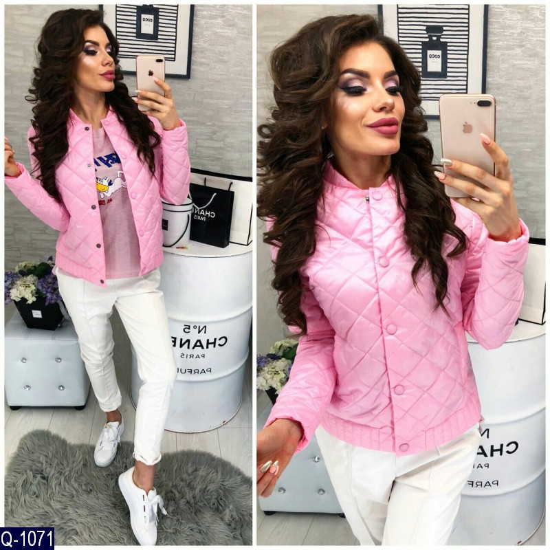 Демисезонная куртка розового цвета