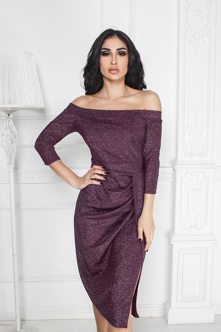 """Нарядное облегающее платье """"GABY"""" с разрезом и оголенными плечами"""