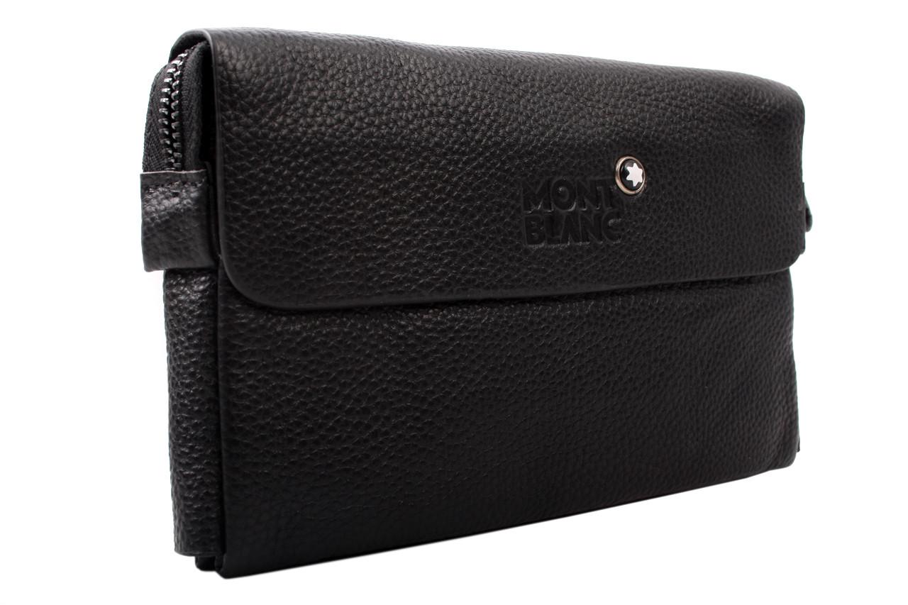 Мужской кошелек Mont Blanc, натуральная кожа, цвет черный, прямоугольной формы