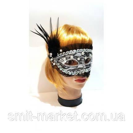 Венецианская маска с Жемчугом (чёрная), фото 2