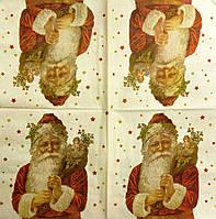 """Салфетка декупажная 33Х33см 26 """"Дедушка мороз с белой бородой"""" (товар при заказе от 200 грн)"""