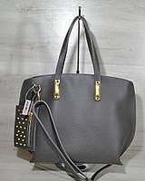 Серая сумка с кошельком 54602 женская овальная с ручками на плечо, фото 1