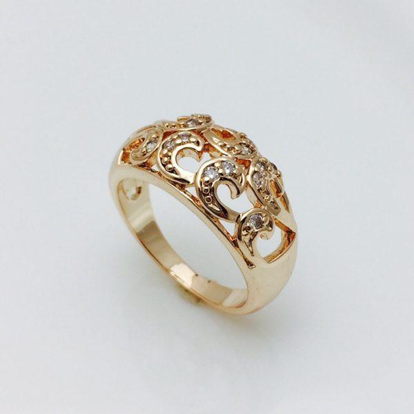 Кольцо широкое с узором, размер 17, 19