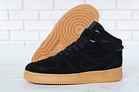 Зимние кроссовки Nike Air Force реплика ААА+ (натуральная замша с мехом) размер 44 черный (живые фото), фото 1