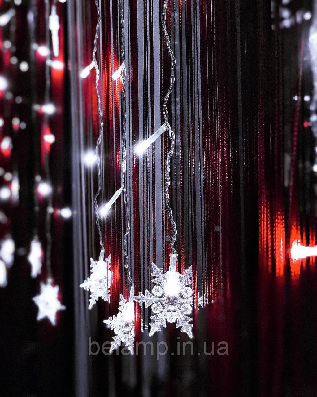 """Новогодняя гирлянда Штора-бахрома из снежинок «Волшебные снежинки"""""""