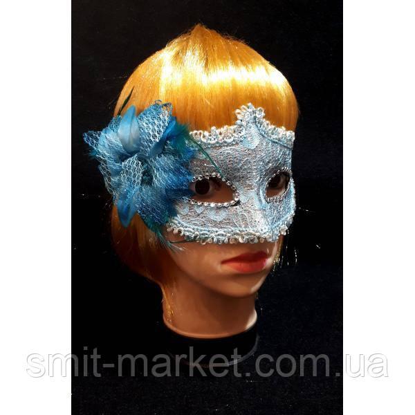 Венецианская маска с Цветком (голубая)