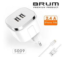 Сетевое зарядное устройство, СЗУ, адаптер BRUM BM-S009 (2USB 2.4A) +кабель Lightning (iPhone 5/6/7/8/X) белый