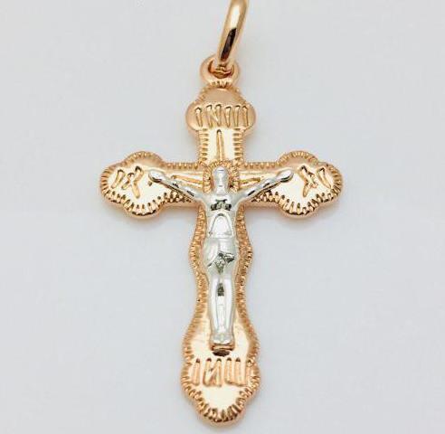 Крест Православный больше, позолота 18К Fallon