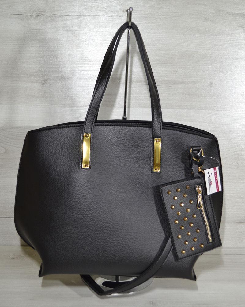 1fda598726d5 Черная сумка с кошельком 54601 женская овальная с ручками на плечо -  Интернет магазин сумок SUMKOFF