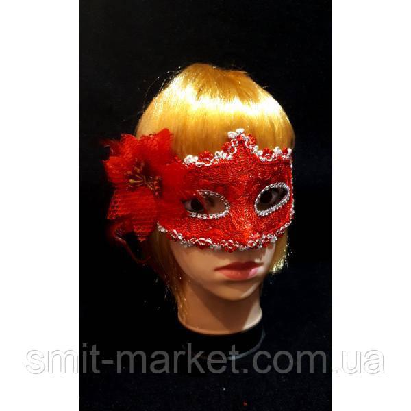 Венецианская маска с Цветком (красная)
