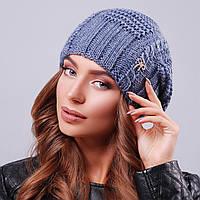 Вязаная женская шапка с узором синяя