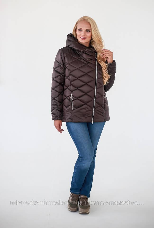 Демисезонная куртка «Гала» —Темно-коричневый  с 52 по 58 размер  (wаук)