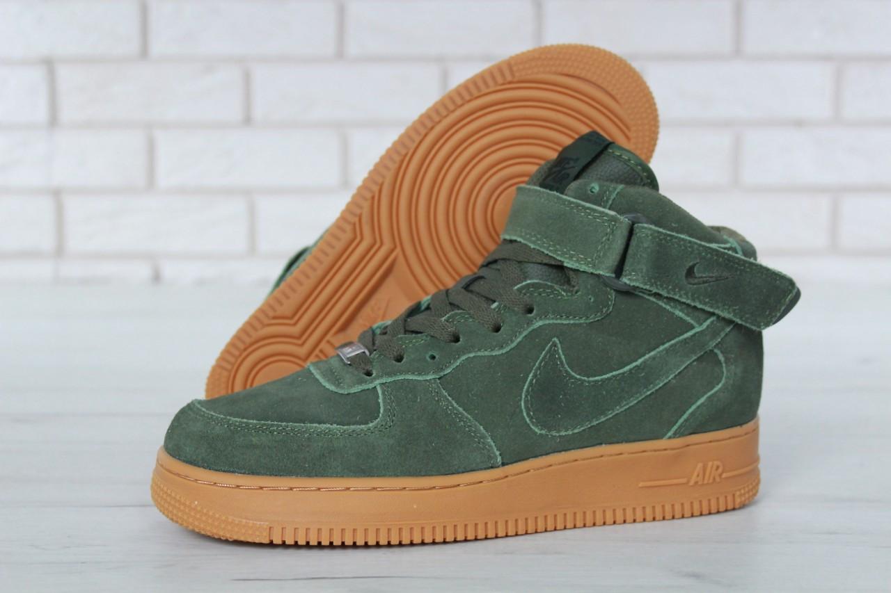 868c65d3 Зимние кроссовки Nike Air Force реплика ААА+ (натуральная замша с мехом)  размер 41-46 зеленый (живые фото)
