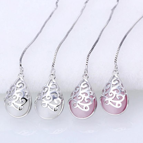 Серебряные серьги Хангер с лунным камнем