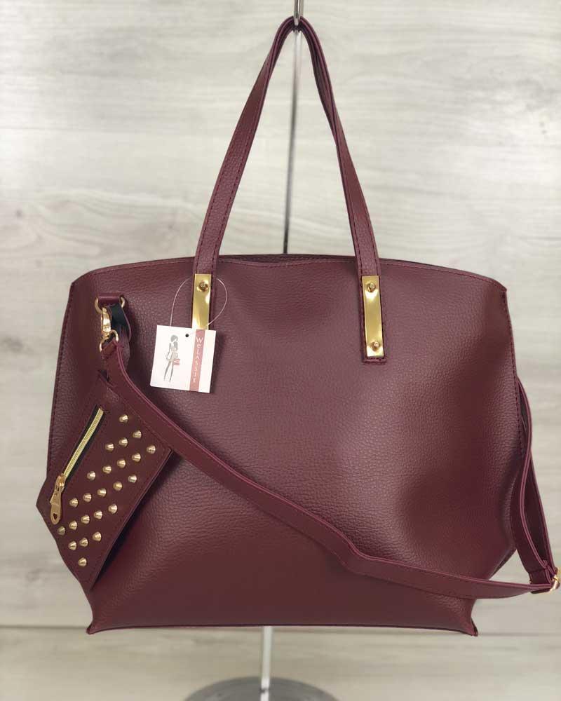 0058d7346e3e Бордовая сумка с кошельком 54607 женская овальная с ручками на плечо -  Интернет магазин сумок SUMKOFF