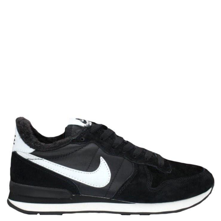 529371a07 Зимние кроссовки Nike Internationalist Black-White Черные Кроссовки Найк С  МЕХОМ (Арт. 1759