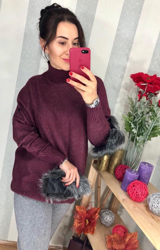 Бордовый кашемировый свитер